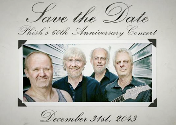 Phish Save the Date poster, 60th Anniversary Concert, December 31, 2043